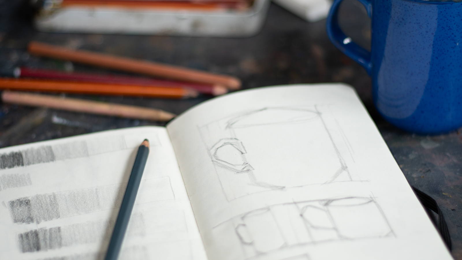 proportion drawing of mug